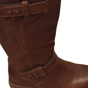 Coach Etched Buckled Boots
